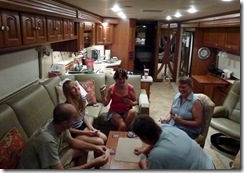 Heated game of Spoons-Brandon, Amanda, Tricia, Syl and Gin