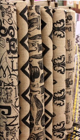 Printed burlap at The Fabric Mill