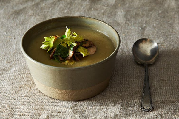 Celeriac Soup with Mushroom, Walnut, and Celery Leaf Salad