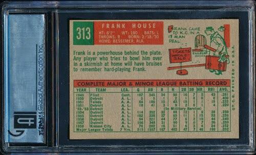 1959 Topps 313 Frank House full print variation back