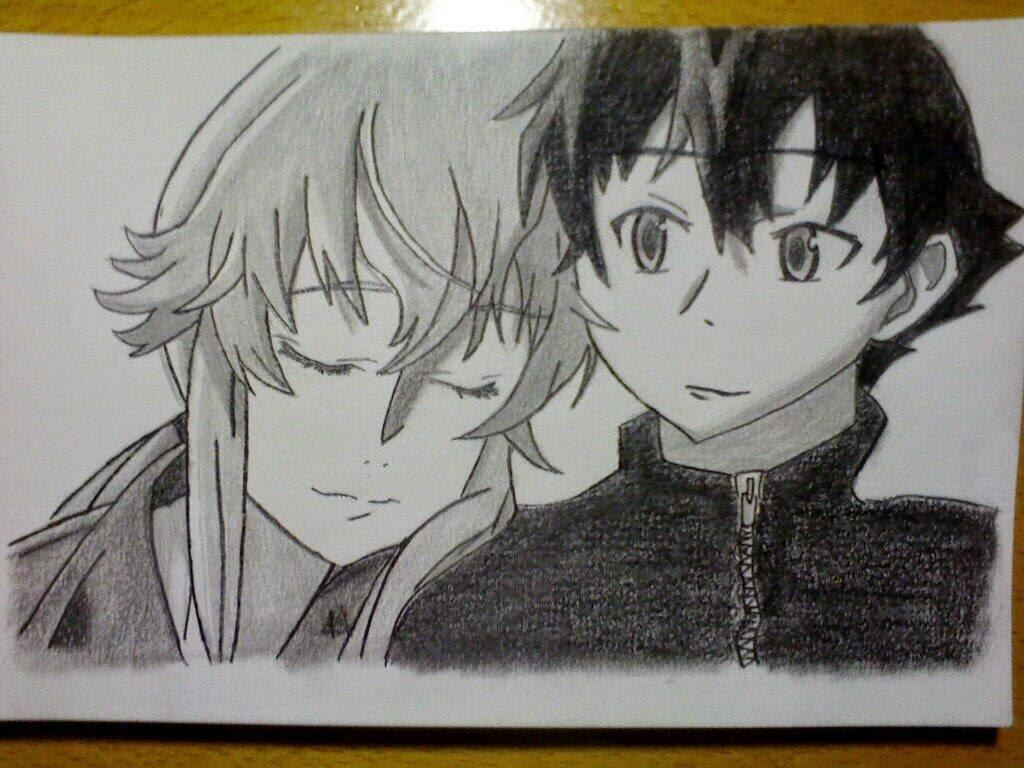 Dibujos gamers y otakus  Dibujo de Amano Yukiteru y Gasai Yuno