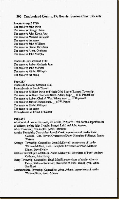 Cumberland County, Pennsylvania Quarter Session Dockets 1750-1785 Christopher Irwin Milford Twp