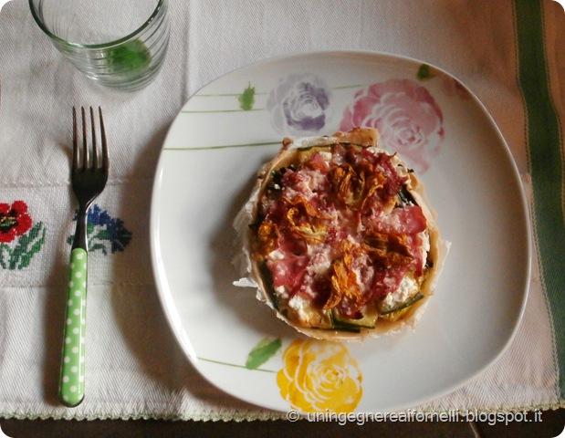 torta salata pasta matta zucchine ricotta prosciutto crudo fiori di zucca parmigiano