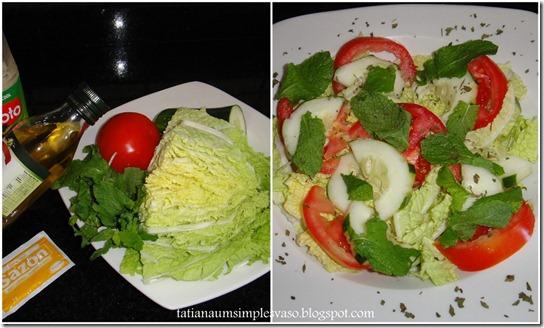 Salada de acelga, pepino, tomate e hortelã