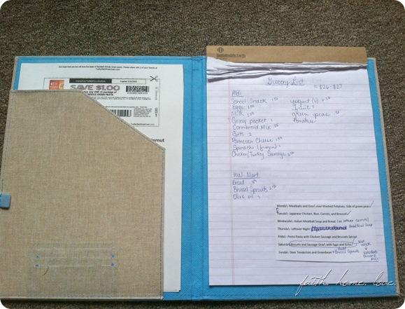 grocery list folder