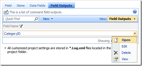 Open context menu action in the Field Outputs tab in the Project Browser.
