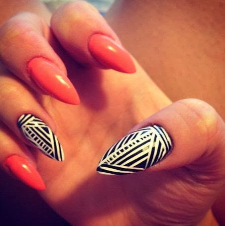 Stiletto Nails Orange Nail Designs For Stiletto Nails
