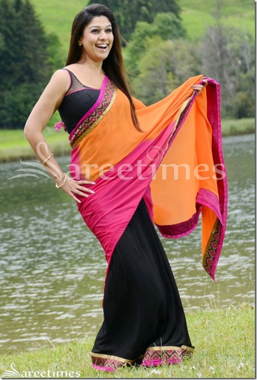 Nayanthara_Tricolor_Black_Pink_Orange_Saree