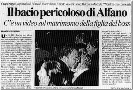 Foto del 96, quando Angelino Alfano baci la mano del capomafia di Palma di Montechiaro, Croce Napoli, (ormai deceduto una decina di anni fa).