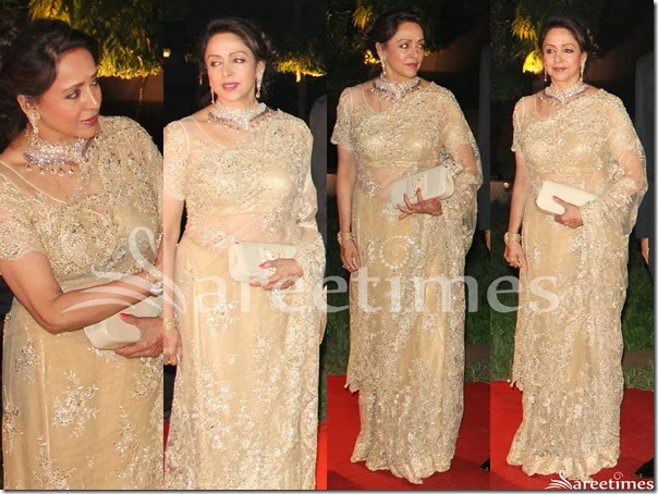 Hema_Malini_Cream_Embroidery_Net_Saree