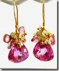 Pink Topaz and Opal Drop Earrings