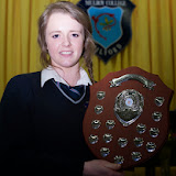 Sports STudent of the Year Aoife McDevitt at the Mulroy College prize giving on Thursday night last. Photo Clive Wasson.