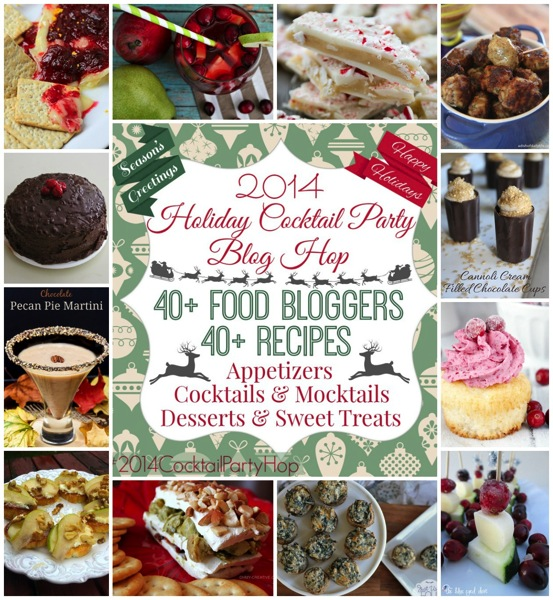A round up post that contains 40+ recipes form your favorite food bloggers. Includes appetizers, cocktails/mocktails, desserts & sweet treats. Throw a perfect holiday cocktail party with all these fabulous ideas!