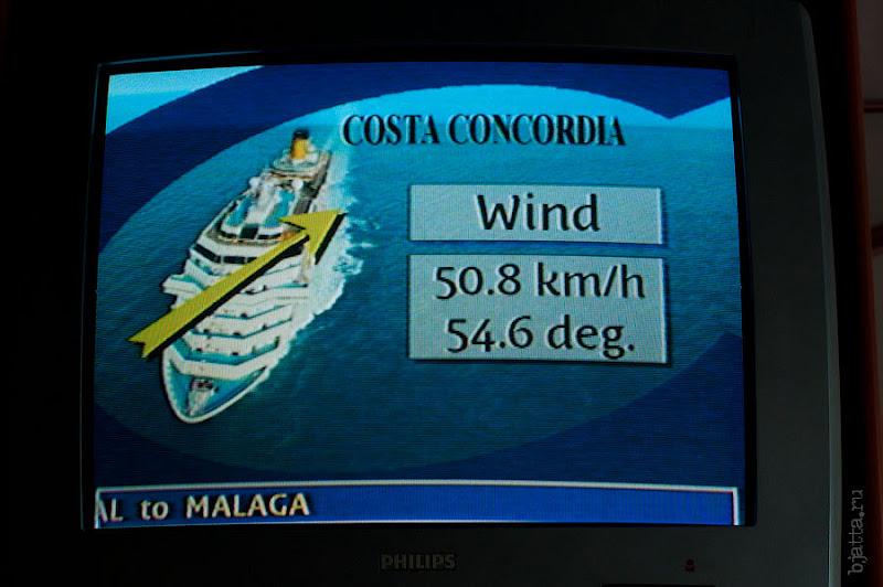 30. По возвращении в каюту снимаю скорость ветра. Канатная дорога. Фуншал. Мадейра. Португалия. Круиз на Costa ConCordia.