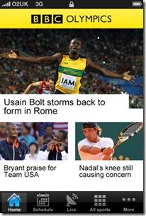 BBC Olympics -app Jocurile Olimpice
