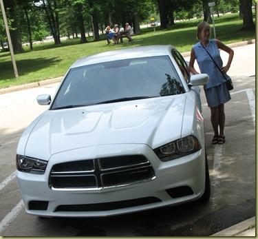 Anna and Car at Michigan Visitor Center