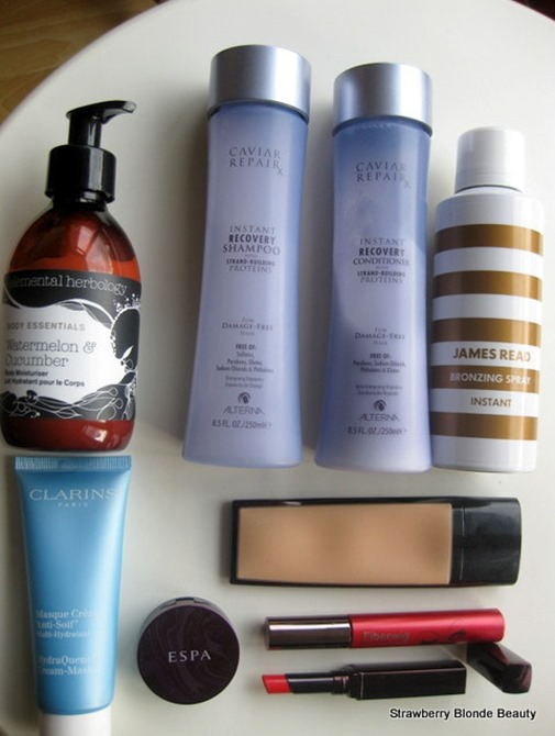 Clarins-Quench-mask,ESPA-balm,James-Read-Spray-Tan,Fibrewig-mascara,Laura-Mercier-Mod,Kevyn-Aucoin-tinted-sensual-balm,Elemental-Herbology-body (2)