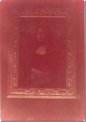 Photo of the painting of the  Mona Lisa at the Louvre