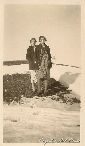 Two Women and a snowbank Tin XCeiling