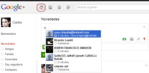 mencionar a una persona en Google+ plus