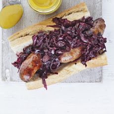 Sausages With Warm Red Cabbage & Beetroot Slaw