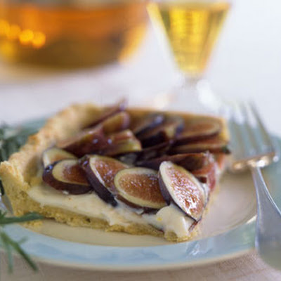 Fresh Fig Tart with Rosemary Cornmeal Crust and Lemon Mascarpone Cream