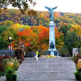 Mount-Royal Park in Autumn by Marco Antonio - City,  Street & Park  City Parks ( montreal, george-étienne cartier monument, quebec, canada, avenue du parc, mount royal )