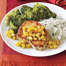 Sautéed Pork Chops with Pineapple and Mint