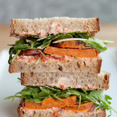 Roasted Sweet Potato, Goat Cheese & Arugula Sandwiches