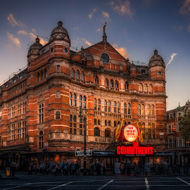 London Palace Theatre by Dobrinovphotography Dobrinov - City,  Street & Park  Night ( illuminated, city of london, west europe, europe, architecture, travel, cambridge circus, england, west end, westend show, show business, nightlife, uk, capital cities, musical theater, entertainment, urban scene, london - england, building exterior, singing in the rain, night, built structure, palace theatre, westend, stage theater )
