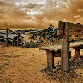 Lookout point by John Phielix - Artistic Objects Furniture ( water, clouds, sand, bench, dune, sea )