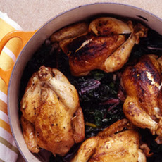 Stuffed Cornish Hens with Swiss Chard