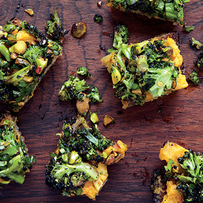 Spiced Sweet Potato and Roasted Broccoli Toasts
