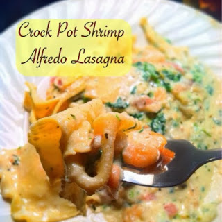 Crock Pot Shrimp Alfredo Lasagna