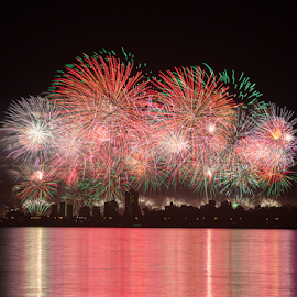 Australia Day 2015 Perth by Photoxor 2014 - Abstract Fire & Fireworks ( australia day, water, reflection, red, perth, color, 2015, fireworks )