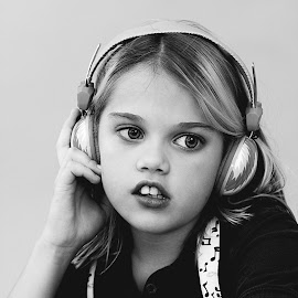 Young Girl Listening to Music by Cynthia Linderbeck - Babies & Children Children Candids