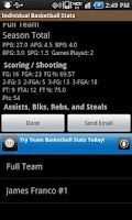 Screenshot of Individual Basketball Stats
