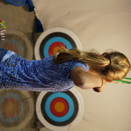 Full Draw by Michelle Cain - Sports & Fitness Other Sports ( compound, arrow, yellow, draw, red, girl, fletching, full, coloful, blue, archery, target, bow )