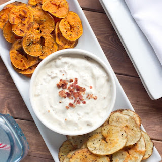 Spiralized Potato Chips With Onion Dip