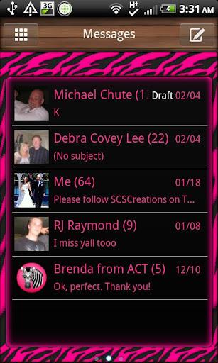 GO SMS - Pink Zebra 3D