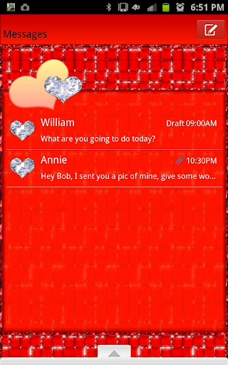 GO SMS - Red Hearts Glitter