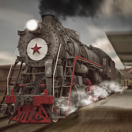 Locomotive by Aurimas Zaleckas - Transportation Trains ( speed, locomotive, red star, train, cinevella, ussr )