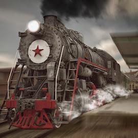 Locomotive by Aurimas Zaleckas - Transportation Trains ( speed, locomotive, red star, train, cinevella, ussr )