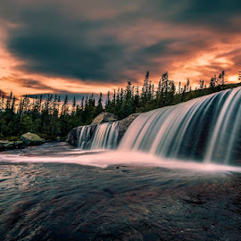 Kiss of Heaven by Daniel Herr - Landscapes Waterscapes ( trollfoss, canon, clouds, colors, waterfall, sunet, reflections, landscape, norway, lights, wilderness, nature, long time exposure )