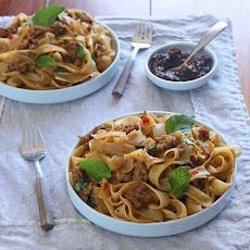 Spicy Thai Noodles with Pork, Basil and Mint