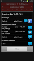 Screenshot of Namedays and Birthdays