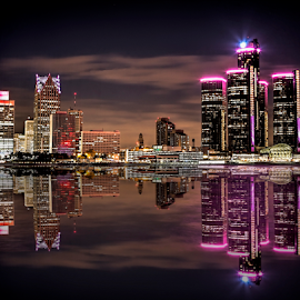 Detroit at Night by Pat Eisenberger - City,  Street & Park  Skylines ( breast, reflection, windsor, skyline, awareness, pink, night, detroit, cancer, river,  )
