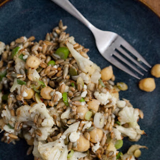 Sprouted Rye Berries and Roasted Cauliflower Bowl