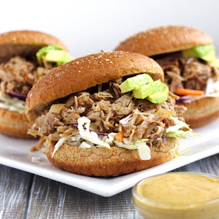 Crockpot Chipotle Pulled Pork With Avocado Ranch Sauce {Whole Wheat}