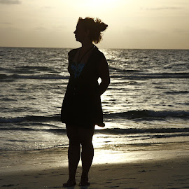 My beautiful wife with a beautiful sunset by Greg Bracco - People Couples ( naples, sunsets, sunset, florida, summer, summer sunset, beach, silloutte,  )